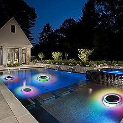 Mlec tech Luz de Solar LED Luces de la Piscina con Cambio de Color RGB Luces al aire libre IP68 para decoración con Mando a Distancia Luces Flotantes Solares