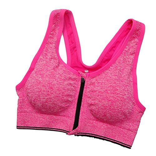 Femme Soutien-gorge de Sports sans Couture Armature Brassière Push Up Sports Bra Ouverture Devant Fitness Jogging Course Yoga Rose