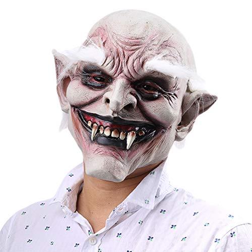 Xinwcanga Maske Vampir mit Haar Latex Runzelige Karnevalsmaske Halloween Kostüm Zubehör Maskenfestivals Kostüm Ball Masken Fancy Dress Party Maske (Weiß, One size)