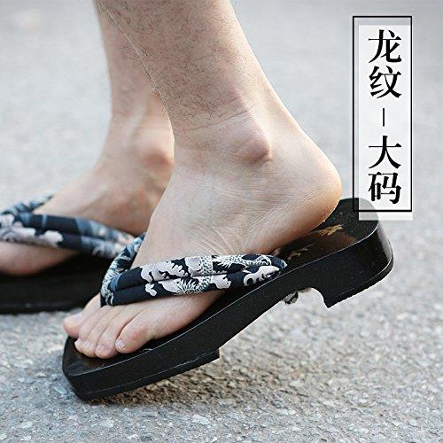 xing lin Sandales En Cuir Sandales Hommes D'Été Hommes Arche De Bois Laqué Noir 屐 Chaussons Pour Les Hommes, 41 L, 2015 Thread Dragon