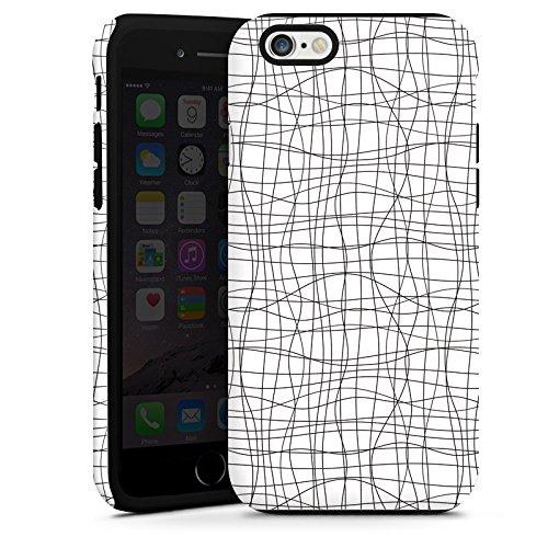 Apple iPhone 6 Housse Étui Silicone Coque Protection Dessin Lignes Motif Cas Tough terne