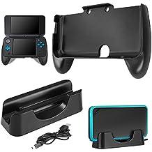 Base de Carga para New Nintendo 2DS XL con Hand Grip, AFUNTA Estación de Carga Cradle Stand Soporte con Cable Mini USB y Mango de Plástico para 2017 Nintendo 2DS LL -Negro