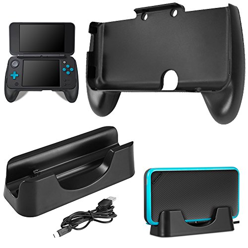 Ladestation für New Nintendo 2DS XL mit Handgriff, AFUNTA Ladestation Cradle Stand mit Mini-USB-Kabel und Kunststoffgriff für 2017 Nintendo 2DS LL - Schwarz Cradle-kabel