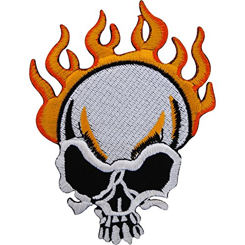 h Badge/Nähen auf Jeans-Jacke bestickt Flaming Fire Skull ()