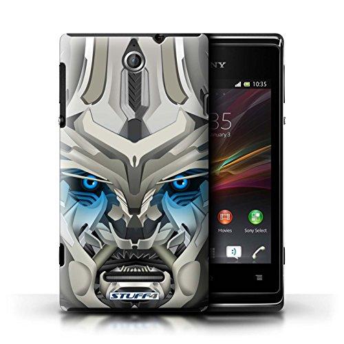Kobalt® Imprimé Etui / Coque pour Sony Xperia E / Opta-Bot Rose conception / Série Robots Mega-Bot Bleu