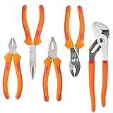 FIXKIT FKS005 Zangensatz, 5-tlg Zangen-set(6-Zoll-Seitenschneider , 7-Zoll-Telefonzange, 6-Zoll-Kombizange, 6-Zoll-Gleitgelenkzange, 8-Zoll-Wasserpumpenzange ) Orange - rote Farbe