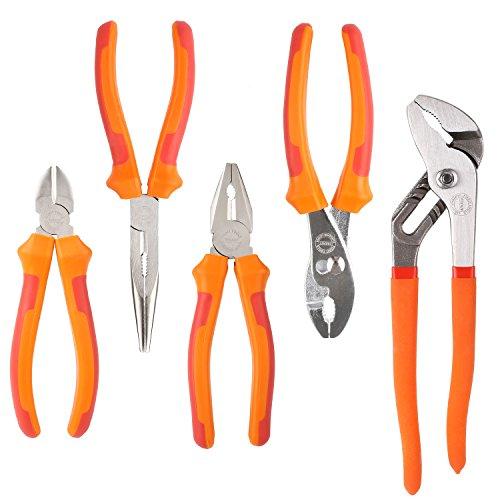 FIXKIT FKS005 Zangensatz, 5-tlg Zangen-set mit Seitenschneider, Telefonzange, Kombizange, Gleitgelenkzange, Wasserpumpenzange, Orange - rote Farbe