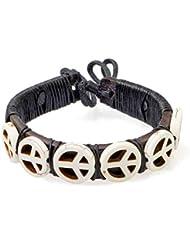 PAPAYANA Hippes Leder-Armband besetzt mit elfenbeinfarbenen Steinen in PEACE-Form