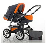 "14 teiliges Qualitäts-Kinderwagenset 2 in 1 ""FLASH"": Kinderwagen + Buggy - Megaset - all inklusive Paket in Farbe ANTHRAZITE-ORANGE"