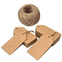 Brown Tags,100 PCS Kraft Paper Gift Tags with String for Christmas,10 * 5 cm Wedding Favour Craft Hang Tags with Jute Twine 30 Meters Long for Crafts & Price Tags Labels