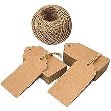 100pcs etiquetas de papel Kraft con cordón, etiquetas de boda rectangulares colgables, etiquetas de regalo para bomboneras con cordel de yute de 30 metros para etiquetas para precios de artículos de artesanía.