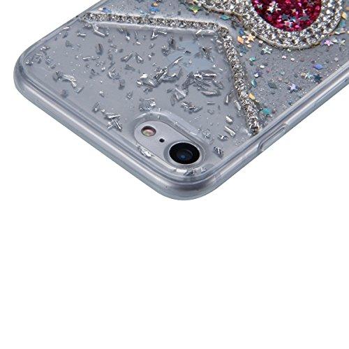 Coque iPhone 7 Miroir, iPhone 7 Coque Brillante, SainCat Ultra Slim TPU Silicone Case pour iPhone 7, Bling Bling Glitter Strass Diamant Anti-Scratch Soft Gel Silicone 3D Transparent Silicone Case Anti Moins de Flash Rhombique