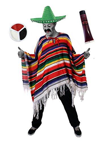 ILOVEFANCYDRESS Zombie Mexikaner KOSTÜM Verkleidung = 1 Poncho + 1 Sombrero + Make up + 1 KUNSTBLUT=Halloween Oder Tag der Toten= mit GRÜNEM Sombrero