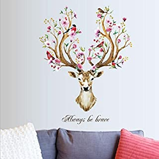 erthome Removable Vinyl Wall Sticker Mural Decal Art Living Room Decors -3D Sika Deer (Sika Deer)