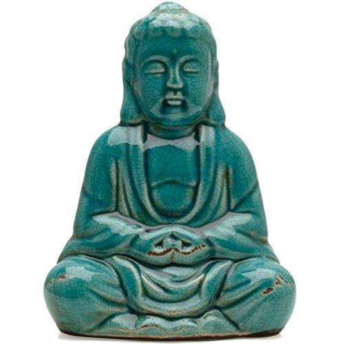 Türkis Crackle Glaze Thai Buddha sitzend 20cm - Crackle Glaze