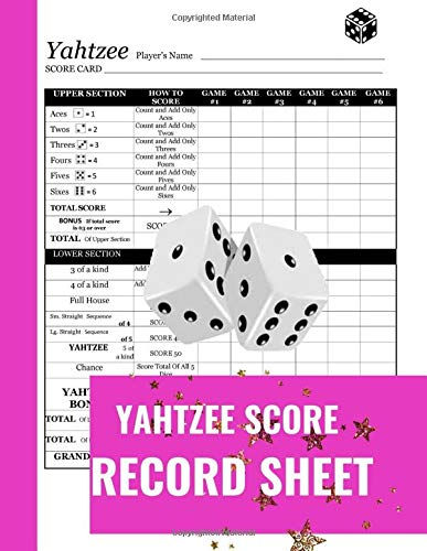 Yahtzee Score Record Sheet: A Cute Royal Purple Large Score Card Pads, Log Book Keeper, Tracker, Of Yahtzee Game Set Dice Thrown; With 100 Pages To ... and Management For Kids And Adults