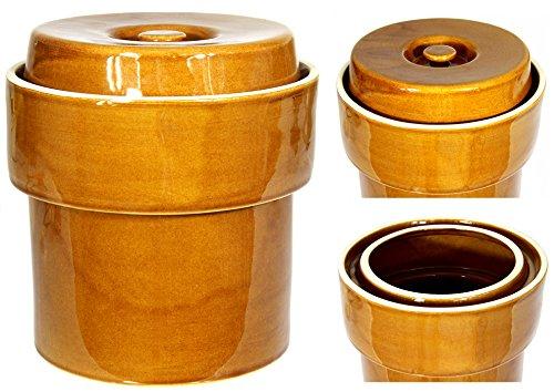 Wamat Sauerkrauttopf Gärtopf Tontopf Steinguttopf Rumtopf Schmalztopf mit Wasserrinne Steingut Honig 5 Liter