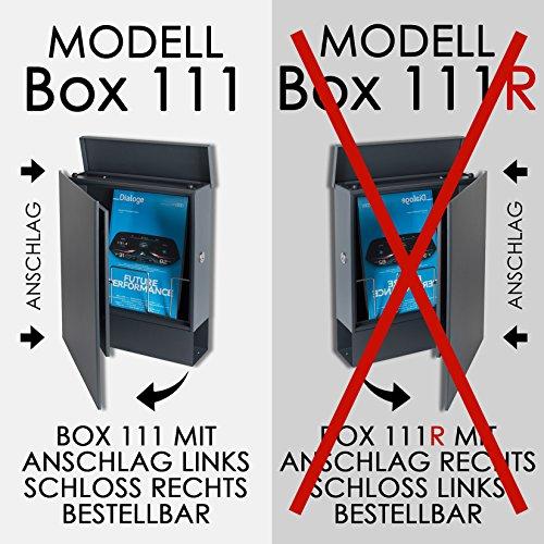 Design-Briefkasten mit Zeitungsfach 12 Liter grau-aluminium (RAL 9007) MOCAVI Box 111 Wandbriefkasten Postkasten Zeitungsrolle - 5
