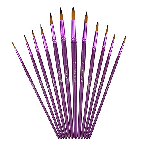12 Pieces Artist Paint Brushes Fine Paint Brush for Acrylic Watercolor Oil Painting, Purple