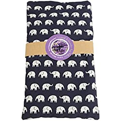 Yoga Studio Francés orgánico Lavanda y ojo de linaza almohadas, Elephant Navy Blue