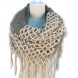 TININNA Inverno Caldo uncinetto Lavorato a maglia Infinity loop nappe morbide scialle Sciarpe dell'involucro della Sciarpa per le donne ragazze Beige