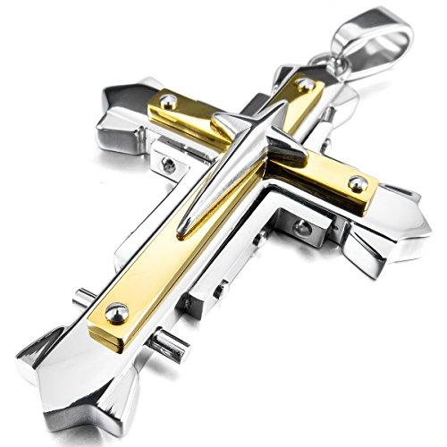 MunkiMix Edelstahl Anhänger Halskette Silber Golden Zwei Ton Kruzifix Kreuz Herren,mit 58cm Kette