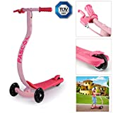 Fascol® C-Form Geschwungenes Design Alu Kinderroller Anti-Rutsch Kinder Scooter mit 3 Flash Rädern, für Kinder von ab 3-8 Jahre, bis 60kg Belastbar - Rosa