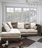 Belle Dior Left Hand Corner Sofa Crushed Velvet Fabric - Brown and Mink