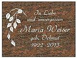 Grabstein, Liegestein, Friedhof, Denkmal, Schriftplatte mit kompletter Schrift 40 x 30 x 3 cm