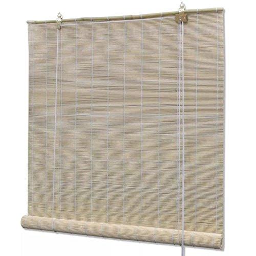Tidyard Persiana Enrollable de Bambú,Cortina de Madera,Estor Enrollable para Ventana de Vestidor,Natural 150x220cm