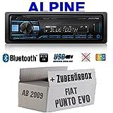 Fiat Punto EVO/199 - Autoradio Radio Alpine UTE-200BT Bluetooth USB MP3 | 1-DIN PKW KFZ 12V Einbauzubehör - Einbauset