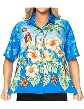 La Leela suave ocasional de la playa likre loro hibisco hawaiano mujeres camisa azul arriba
