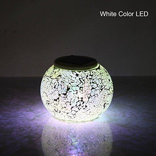 YBK Tech Crystal Glass Globe Ball Magic RGB Mosaic Night Waterproof Bedside Mood Lamp Decoration Light for Patio Garden Yard Décor - Silver