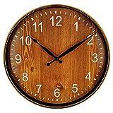Foxtop 30 cm Orologio da parete effetto legno, silenzioso al quarzo ticchettio tondo Orologio a batteria da casa per cucina camera da letto Soggiorno marrone