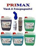 5 x 5 Liter Primax Flüssigwaschmittel 2 xgrün 2x blau 1 x Blackwash + Oxy + Maschinenpflege und Ausgießer