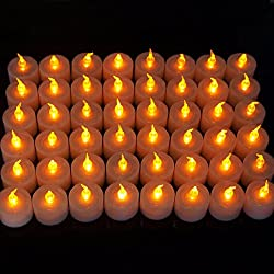 Ezi 48 Pcs Flameless Flickering Led Tealight Candle Amber Light For Wedding