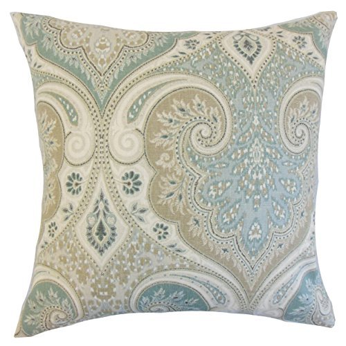 The Pillow Collection P18FLAT-PT-LATIKA-SEAFOAM-L100 Kirrily Damask Throw Pillow Cover, 18 x 18 by The Pillow Collection