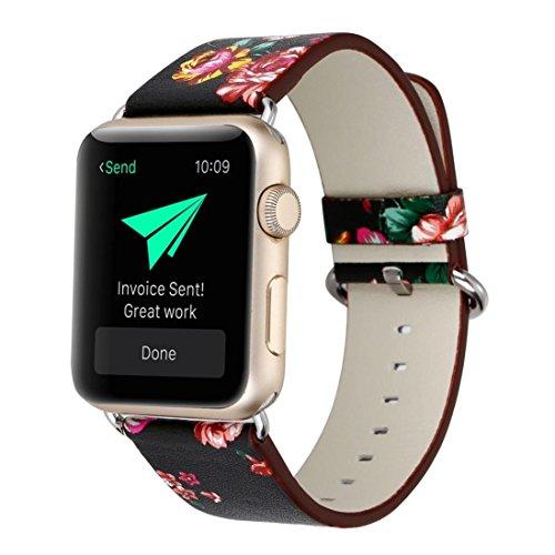 taottao correa de cuero Watch Reemplazo Banda para Apple Watch 38mm, E