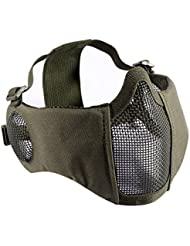 OneTigris Folding Half Mask Airsoft Mesh Face Mask with Ear Protection