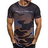 Beikoard Camiseta y Polos Basica, Pop Personalidad de la Moda Camuflaje Hombres Casual Slim Camisa de Manga Corta Top Blusa (Marrón, L2)