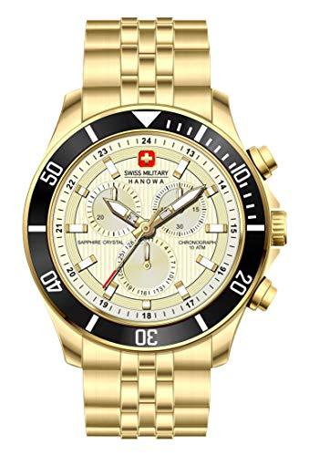 Swiss Military Hanowa Unisex Erwachsene Analog Quarz Uhr mit Edelstahl Armband 06-5183.7.02.002