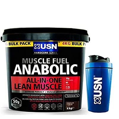 USN Muscle Fuel Anabolic 4 kg,Powerful All-In-One Shake,Supports Muscle Performance,Supports Muscle Recovery and Growth, Free USN Shaker (Banana) from USN