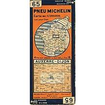 """Carte Michelin : Auxerre - Dijon. Carte au 200.000e. Num'ro blanc dans un cercle bleu. R'vis'e en 1940. Michelin et Cie, Clermont-Ferrand. Vers 1940. (Carte Michelin, Loiret, Cher, NiŠvre, C""""te d'or, Yonne)"""
