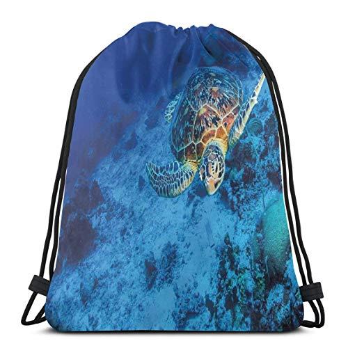 Drawstring Sack Backpacks Bags,Oceanic Wildlife Themed Photo of Sea Turtle In Deep Blue Waters Coral Reef Hawaiian,Adjustable,5 Liter Capacity,Adjustable. -