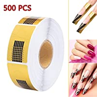 500PCS Easy to Apply Nail Art Forms Sticker, Extension Self-adhesive Tips Sculpting Guide Stickers Salon Accessory for Acrylic UV Gel Nail Art (Golden)