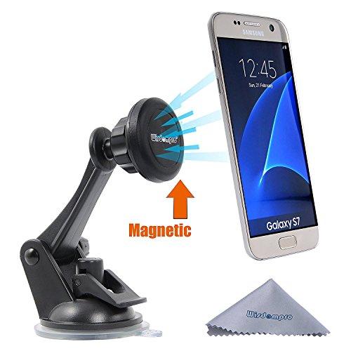 KFZ-Halterung, wisdompro Universal Magnetic Windschutzscheibe Armaturenbrett KFZ Halterung für Apple iPhone 5/6/6Plus, Samsung Galaxy S7/S6/S5, Android und Andere Smartphones, GPS, Swiveling Black (Nokia-handy-fall 521)