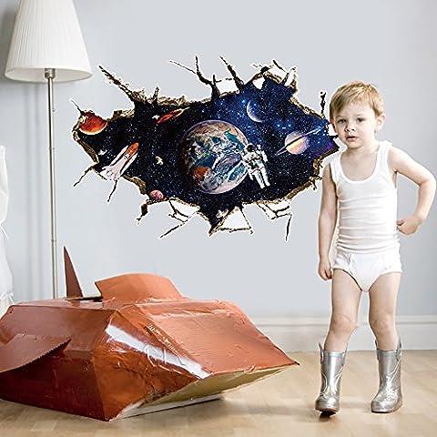 Pingenaneer 3D Wandsticker Kinderzimmer Babyzimmer Wandtattoo Wandaufkleber Selbstklebende Abnehmbaren, Pingenaneer Universum Sterne Planeten Aufkleber Dekorateur 60*90cm - Typ