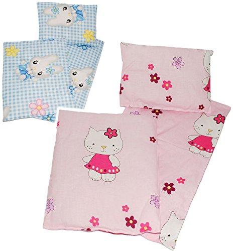 3 TLG. Set _ Puppendecke & Kissen - mit Unterlage - aus 100 % Baumwolle - Stoff - Bettwäsche - für Puppen - Bettzeug - Kopfkissen - ideal für Puppenwagen / Pu..
