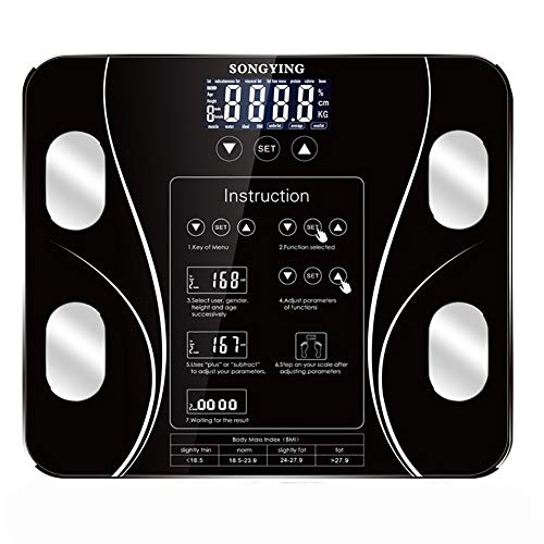 CHENG Digital-Gewicht-Personenwaage, Ultra Slim Analyzer Personenwaage 15 Datenautomatic Switch Maschine für Weight Loss Fitness Tracking (Schwarz) -