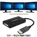 CableDeconn 4-in-1 Multi-Function Displayport a Hdmi/Dvi/VGA, Cavo Adattatore con Uscita Audio Micro USB Maschio a Femmina, Supporta 3 Monitor allo Stesso Tempo